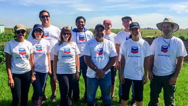 Chevron employees volunteering at Garden of Eat'n