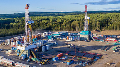 Aerial photos of Laird Horn River well site in Northern British Columbia
